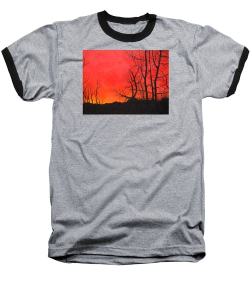 Baseball T-Shirt featuring the painting Red Sky  by Dan Whittemore