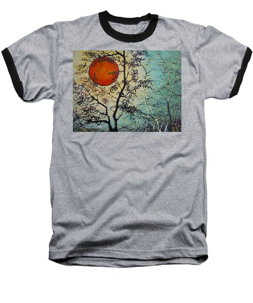 Baseball T-Shirt featuring the painting Red Sun A Red Moon by Dan Whittemore