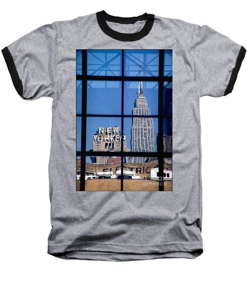 Reflection Empire State Building Baseball T-Shirt by Mark Gilman