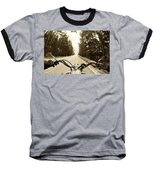 Riders Eye Veiw In Sepia Baseball T-Shirt by Micah May