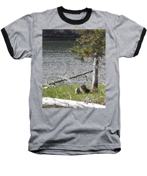 Baseball T-Shirt featuring the photograph River Otter by Belinda Greb