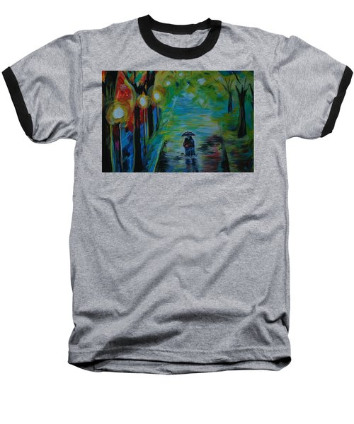 Baseball T-Shirt featuring the painting Romantic Stroll Series 1 by Leslie Allen