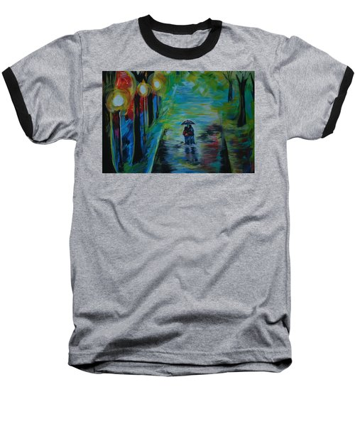 Baseball T-Shirt featuring the painting Romantic Stroll Series II by Leslie Allen