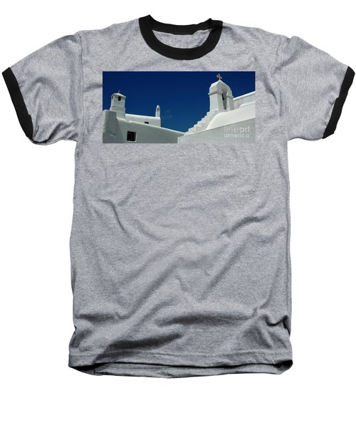 Rooftops Of Mykonos Baseball T-Shirt by Vivian Christopher