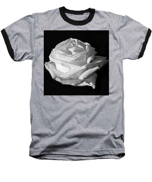 Baseball T-Shirt featuring the photograph Rose Silver Anniversary Monochrome by Steve Purnell