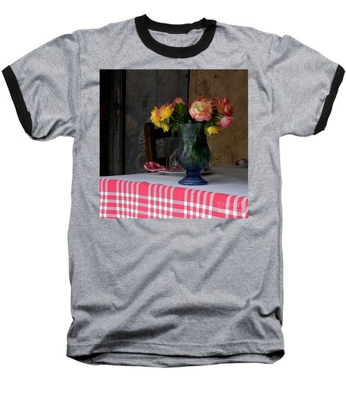 Baseball T-Shirt featuring the photograph Roses In Blue Glass Vase by Lainie Wrightson