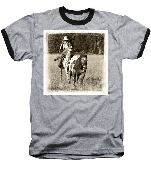 Baseball T-Shirt featuring the photograph Round-up by Jerry Fornarotto