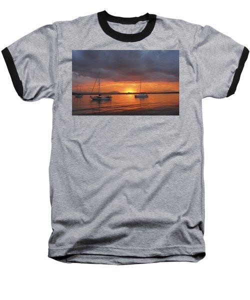 Baseball T-Shirt featuring the digital art Sailboats At Anchor by Anne Mott