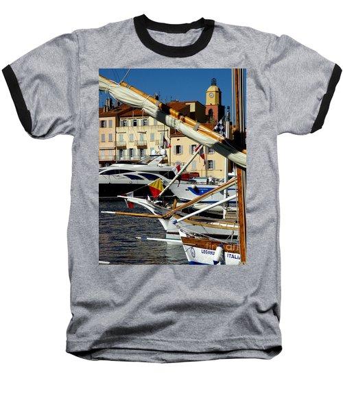 Saint Tropez Harbor Baseball T-Shirt by Lainie Wrightson