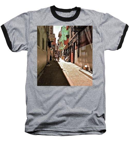 Baseball T-Shirt featuring the photograph San Fran Chinatown Alley by Bill Owen