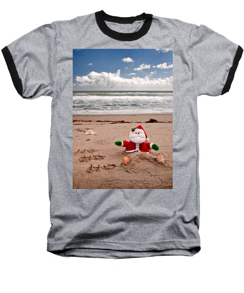 Santa At The Beach Baseball T-Shirt