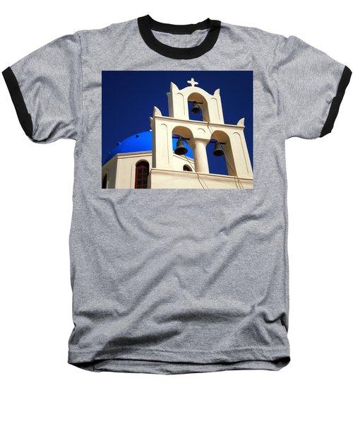 Baseball T-Shirt featuring the photograph santorini Church Greee by Colette V Hera  Guggenheim