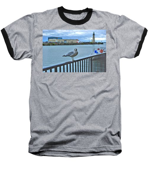Baseball T-Shirt featuring the photograph Seagull At Lighthouse by Michael Frank Jr