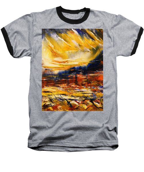 Baseball T-Shirt featuring the painting Sedona Sky by Karen  Ferrand Carroll