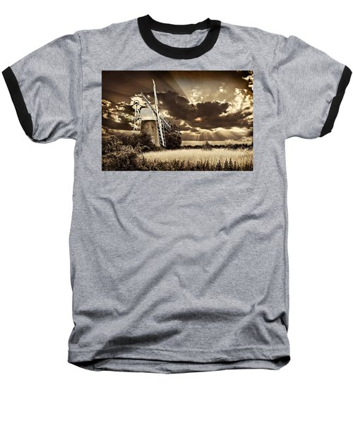 Baseball T-Shirt featuring the photograph Sepia Sky Windmill by Meirion Matthias