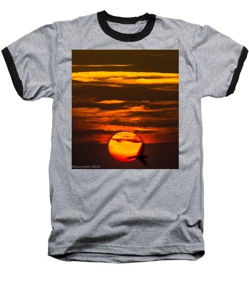 Setting Sun Flyby Baseball T-Shirt by Shannon Harrington