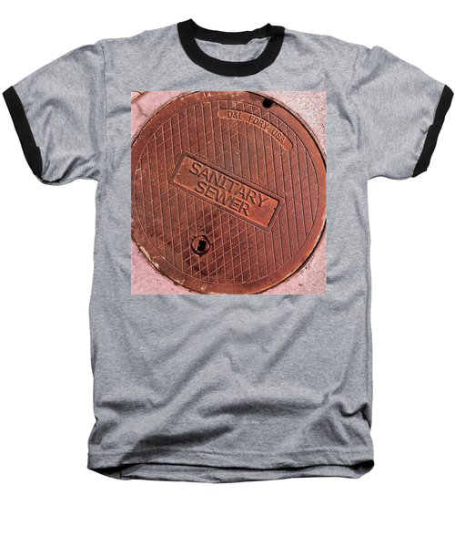 Baseball T-Shirt featuring the photograph Sewer Cover by Bill Owen
