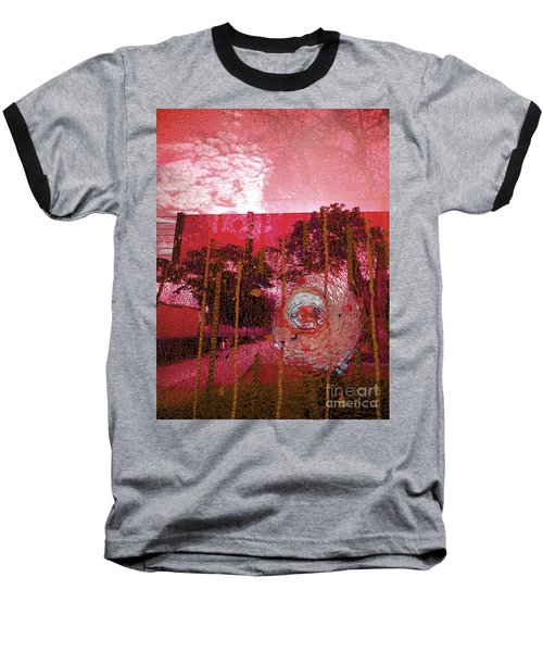 Baseball T-Shirt featuring the photograph Abstract Shattered Glass Red by Andy Prendy