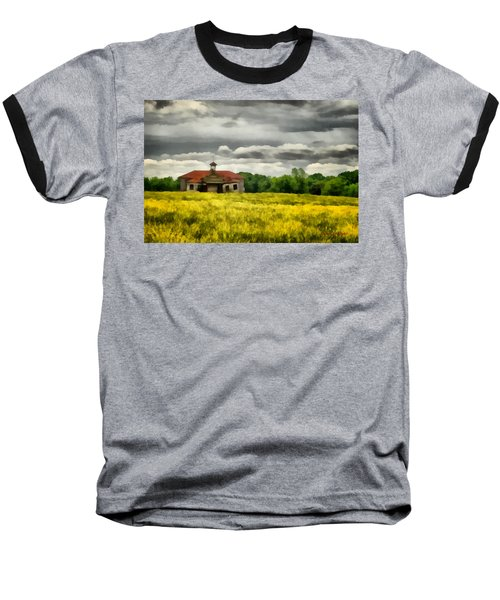 Baseball T-Shirt featuring the painting Shiloh School by Lynne Jenkins