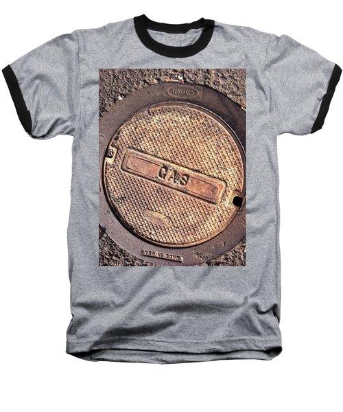 Baseball T-Shirt featuring the photograph Sidewalk Gas Cover by Bill Owen