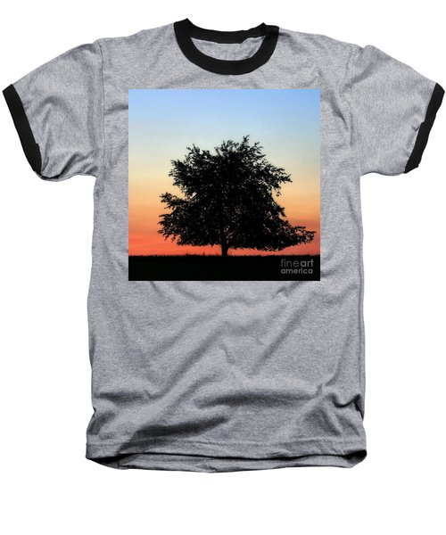 Make People Happy  Square Photograph Of Tree Silhouette Against A Colorful Summer Sky Baseball T-Shirt