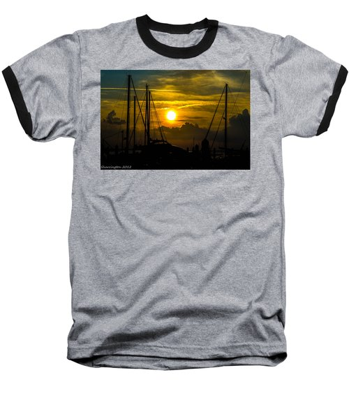 Silhouettes At The Marina Baseball T-Shirt by Shannon Harrington