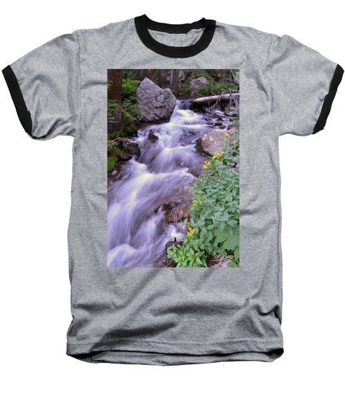 Silky Stream Baseball T-Shirt by Zawhaus Photography