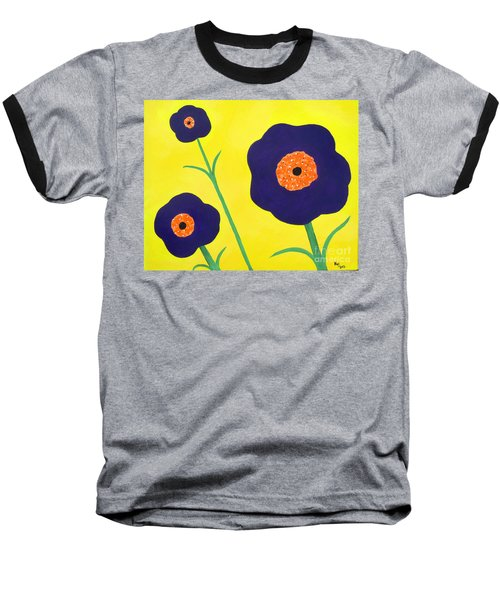 Baseball T-Shirt featuring the painting Sky High Flowers by Alys Caviness-Gober