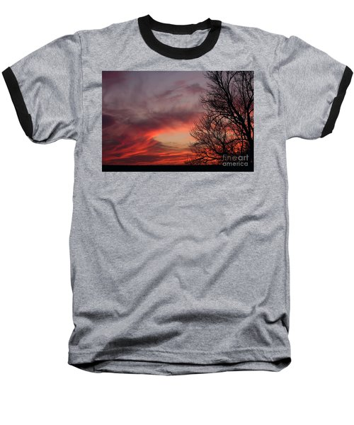 Baseball T-Shirt featuring the photograph Sky On Fire by Art Whitton