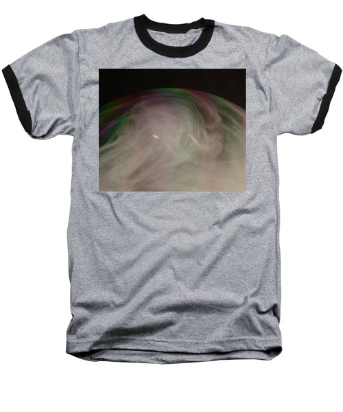 Smoke Bubble Baseball T-Shirt by Cathie Douglas