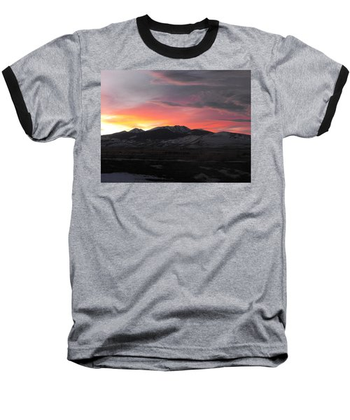 Snow Covered Mountain Sunset Baseball T-Shirt