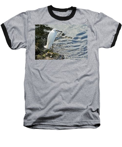 Snowy Egret 2 Baseball T-Shirt by Joe Faherty
