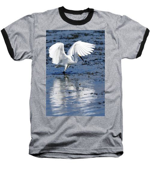 Snowy Egret Fishing Baseball T-Shirt