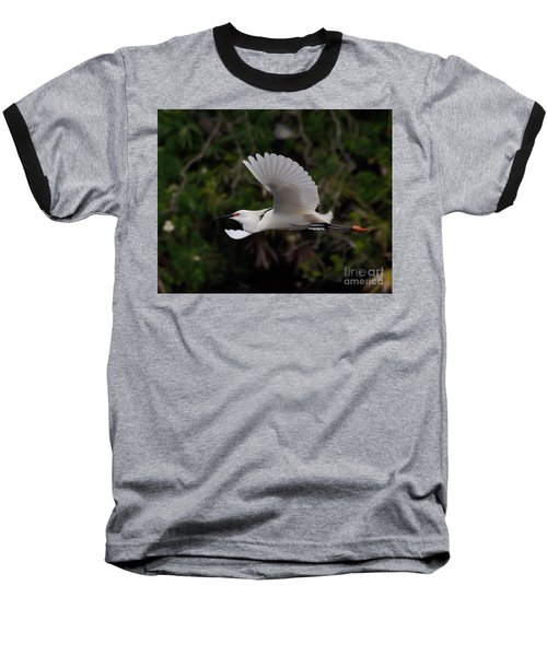 Baseball T-Shirt featuring the photograph Snowy Egret In Flight by Art Whitton