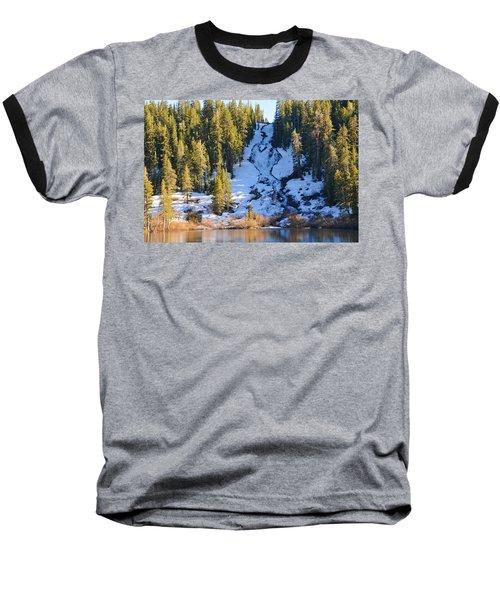 Snowy Heart Falls Baseball T-Shirt by Lynn Bauer