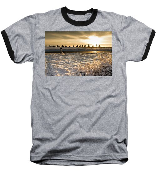 Snowy Sunrise Baseball T-Shirt