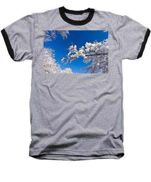 Snowy Trees And Blue Sky Baseball T-Shirt