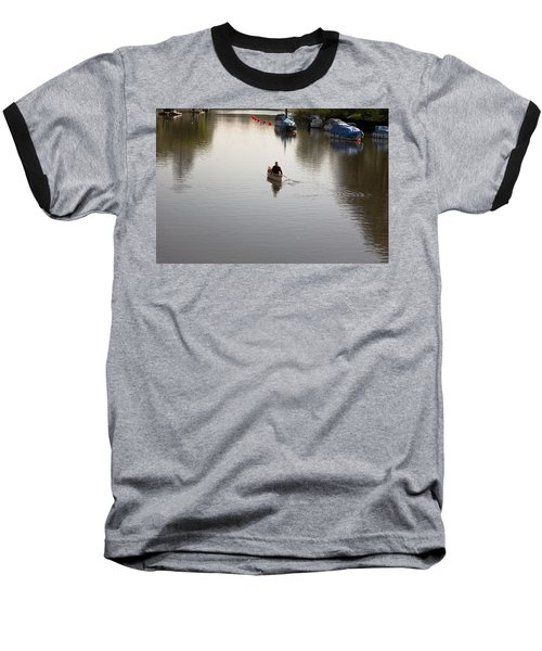 Baseball T-Shirt featuring the photograph Solo Rowing by Maj Seda