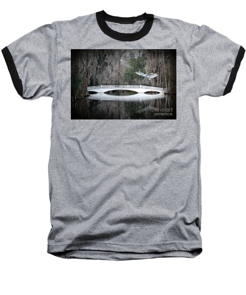 Baseball T-Shirt featuring the photograph Southern Plantation Flying Egret by Dan Friend