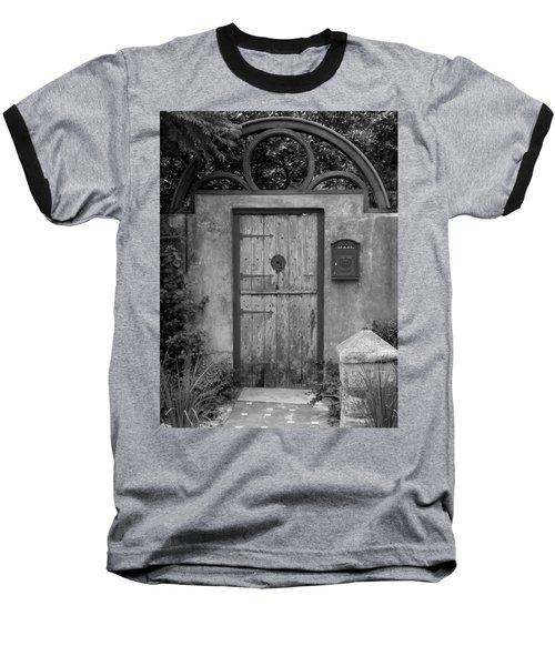 Spanish Renaissance Courtyard Door Baseball T-Shirt by Judy Wanamaker