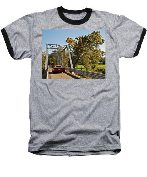Baseball T-Shirt featuring the photograph Sports Car On A Bridge by Susan Leggett