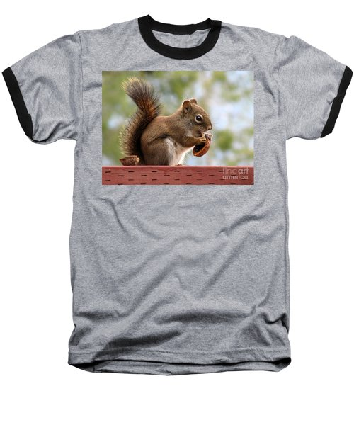 Squirrel And His Walnut Baseball T-Shirt by Leone Lund