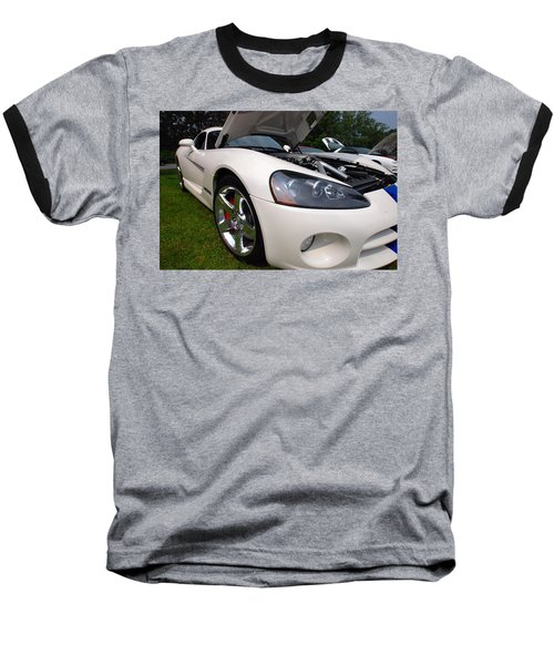 Baseball T-Shirt featuring the pyrography Ssss 2009 Dodge Viper by John Schneider
