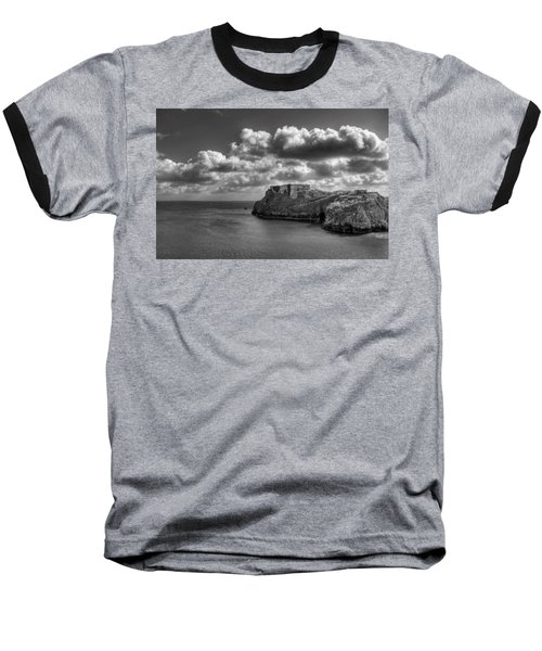 Baseball T-Shirt featuring the photograph St Catherines Rock Tenby by Steve Purnell