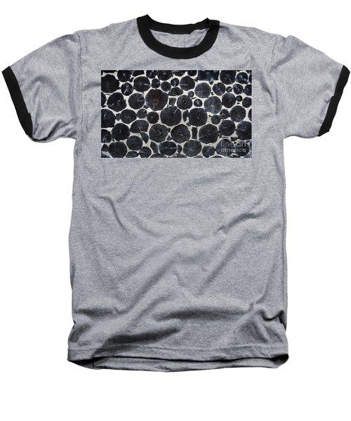 Baseball T-Shirt featuring the photograph Stacked Log Wall by Barbara McMahon