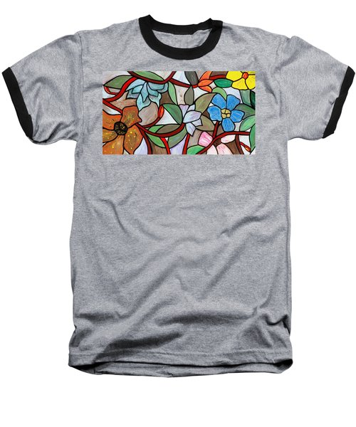 Baseball T-Shirt featuring the painting Stained Glass Wild  Flowers by Cynthia Amaral