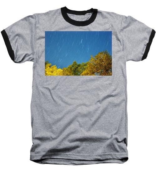 Star Trails On A Blue Sky Baseball T-Shirt by Kay Lovingood