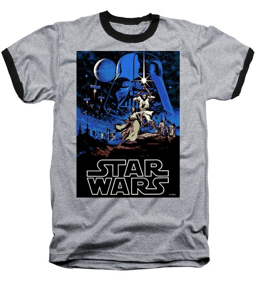 Star Wars Poster Baseball T-Shirt by George Pedro