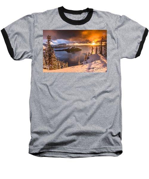Starburst Sunrise At Crater Lake Baseball T-Shirt