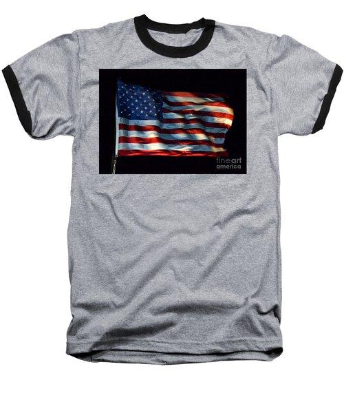 Stars And Stripes At Night Baseball T-Shirt